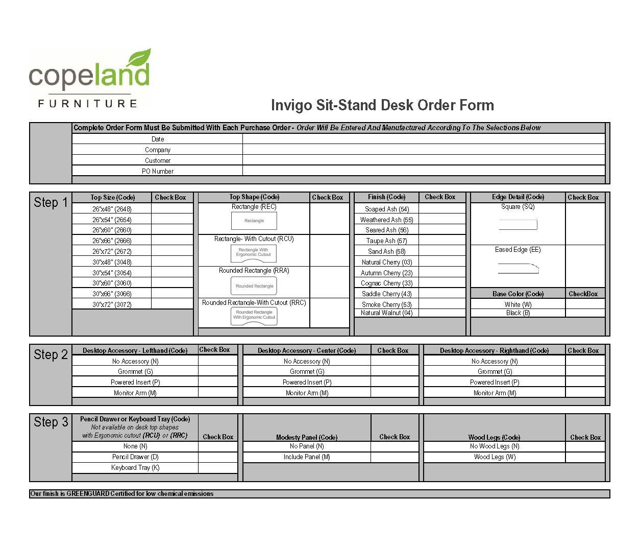 Invigo Order Sheet