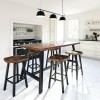 Modern Farmhouse Counter Height Table Counter Stools in Walnut